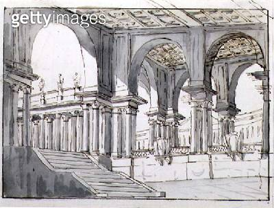 <b>Title</b> : Design for a Neo-Classical Stage Set, 1780 (pen & ink and w/c on paper)<br><b>Medium</b> : pen and ink and watercolour on paper<br><b>Location</b> : Private Collection<br> - gettyimageskorea