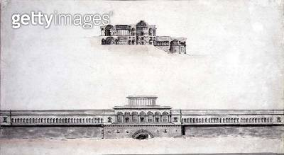 <b>Title</b> : Design for a Neo-Classical Palace, 1780 (pen & ink and w/c on paper)<br><b>Medium</b> : pen and ink and watercolour on paper<br><b>Location</b> : Private Collection<br> - gettyimageskorea