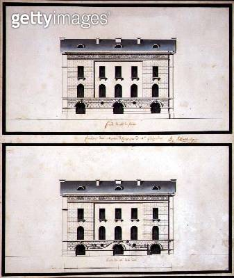 <b>Title</b> : Elevations of a Neo-Classical Villa for a Gentleman (pen & ink and w/c on paper)<br><b>Medium</b> : pen and ink and watercolour on paper<br><b>Location</b> : Private Collection<br> - gettyimageskorea