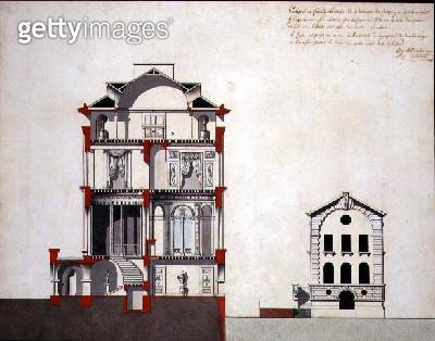 <b>Title</b> : Cross-section of a Neo-Classical Villa for a Gentleman (pen & ink and w/c on paper)<br><b>Medium</b> : pen and ink and watercolour on paper<br><b>Location</b> : Private Collection<br> - gettyimageskorea
