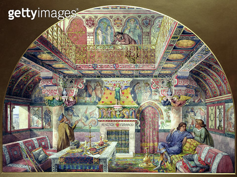 Design for the Decoration of the Summer Smoking Room at Cardiff Castle/ 1870 (w/c on paper) - gettyimageskorea
