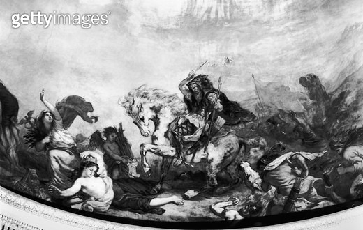 <b>Title</b> : Attila the Hun (c.406-453) and his hordes overrunning Italy and the Arts, 1838-47 (mural) (b/w photo)<br><b>Medium</b> : mural<br><b>Location</b> : Assemblee Nationale Palais-Bourbon, Paris, France<br> - gettyimageskorea
