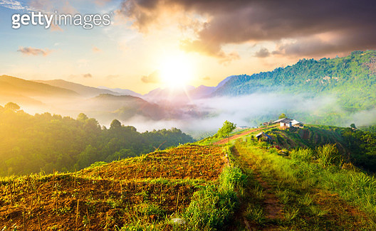 Panoramic view Sunrise and mist on mountain view at the north of thailand - gettyimageskorea