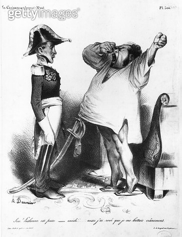 <b>Title</b> : The Count of Villaflor telling Pedro I (1798-1834) Emperor of Brazil and King of Portugal that he has recaptured Lisbon, from 'La Caricature', N 145, 1833 (litho) (b/w photo)<br><b>Medium</b> : lithograph<br><b>Location</b> : Bibliotheque N - gettyimageskorea