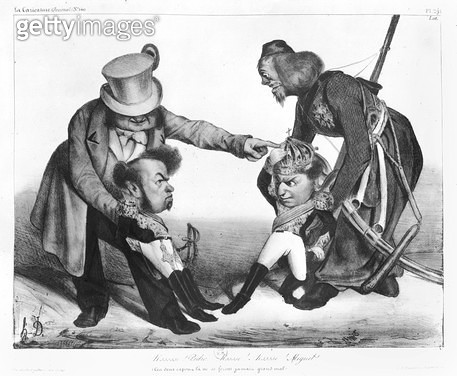 <b>Title</b> : The Civil War in Portugal bringing into conflict Pedro I (1798-1834) Emperor of Brazil and King of Portugal and Dom Miguel (1802-66), from 'La Caricature', N 140, 1832-34 (litho) (b/w photo)<br><b>Medium</b> : lithograph<br><b>Location</b>  - gettyimageskorea