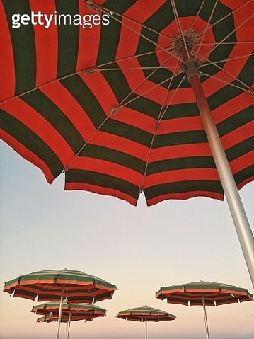 Low Angle View Of Parasols Against Clear Sky - gettyimageskorea