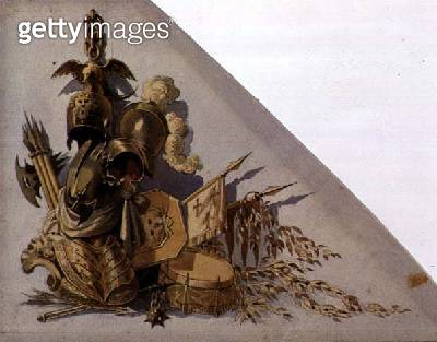 <b>Title</b> : Neo-Classical Trophies of Arms: Europe, c.1825 (w/c on paper)<br><b>Medium</b> : watercolour on paper<br><b>Location</b> : Private Collection<br> - gettyimageskorea