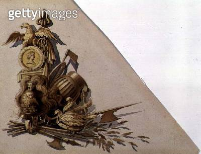 <b>Title</b> : Neo-Classical Trophies of Arms, Russia, c.1825 (w/c on paper)<br><b>Medium</b> : watercolour on paper<br><b>Location</b> : Private Collection<br> - gettyimageskorea