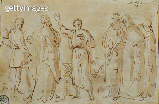 <b>Title</b> : Socrates Drinks the Cup of Hemlock, c.1787 (pen & ink with sepia wash on paper)<br><b>Medium</b> : pen and ink with sepia wash on paper<br><b>Location</b> : Private Collection<br> - gettyimageskorea