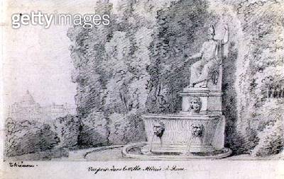 <b>Title</b> : View of a Fountain in the Garden of the Villa Medici, Rome, c.1815-20 (pencil on paper)<br><b>Medium</b> : pencil on paper<br><b>Location</b> : Private Collection<br> - gettyimageskorea
