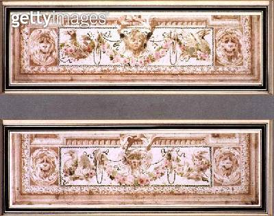 <b>Title</b> : Alternate Neo-classical ceiling designs, c.1800 (pen & ink and w/c on paper)<br><b>Medium</b> : pen and ink and watercolour on paper<br><b>Location</b> : Private Collection<br> - gettyimageskorea