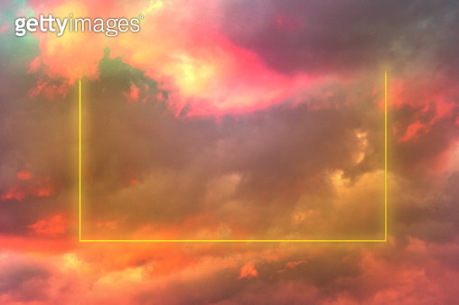 Poetic rectangle in neon lights in the burning sky with stunning pink colors. - gettyimageskorea
