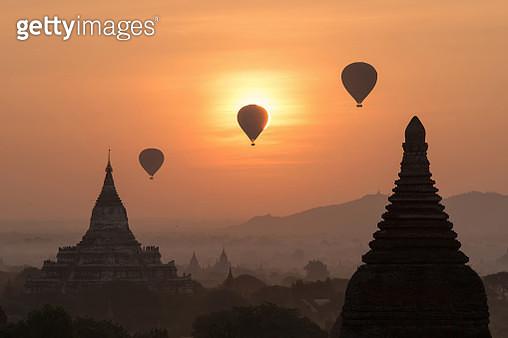 Balloons over Bagan, Myanmar - gettyimageskorea