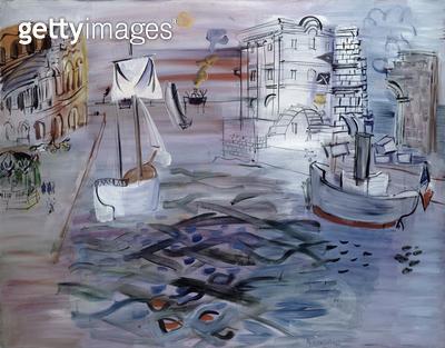 <b>Title</b> : Port with a Sailboat, Homage to Claude Lorrain, c.1935 (oil on canvas)<br><b>Medium</b> : oil on canvas<br><b>Location</b> : Musee d'Art Moderne de la Ville de Paris, Paris, France<br> - gettyimageskorea