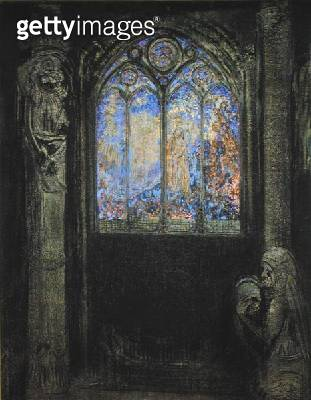 <b>Title</b> : The Stained Glass Window, 1904 (charcoal & pastel on card)<br><b>Medium</b> : charcoal and pastel on card<br><b>Location</b> : Musee d'Orsay, Paris, France<br> - gettyimageskorea