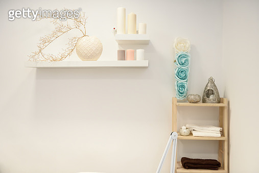 Wooden Shelf And Objects Against Wall - gettyimageskorea