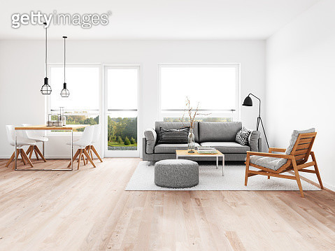 Modern living room with dining room. Render image. - gettyimageskorea