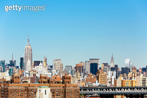 Manhattan skyline with Empire State Building and Chrysler Building, New York City, USA - gettyimageskorea