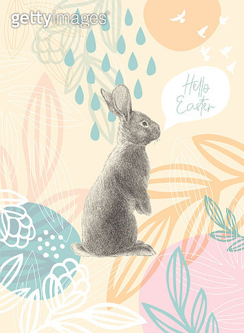 Easter Rabbit On Floral Pattern Happy Easter Message - gettyimageskorea