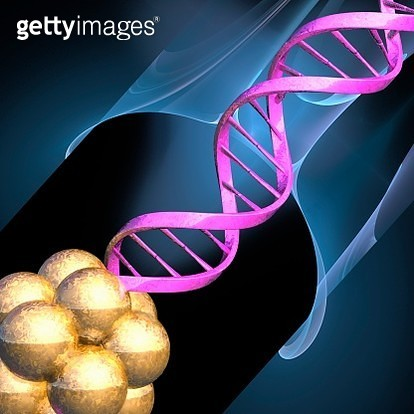 Cell cluster and DNA molecule, illustration - gettyimageskorea