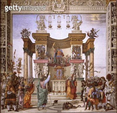 <b>Title</b> : St. Philip exorcizing the demon from the temple of Mars, south wall of Strozzi Chapel, c.1497-1502 (fresco) (see 208286)Addition<br><b>Medium</b> : <br><b>Location</b> : Santa Maria Novella, Florence, Italy<br> - gettyimageskorea
