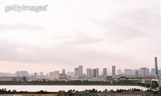 Aerial view of Tokyo skyline and Arakawa river - gettyimageskorea