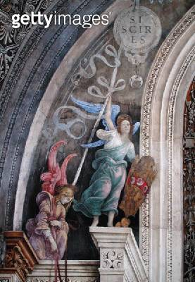 <b>Title</b> : Two angels, detail from the left side of the east wall in Strozzi Chapel, c.1457-1502 (fresco)<br><b>Medium</b> : fresco<br><b>Location</b> : Santa Maria Novella, Florence, Italy<br> - gettyimageskorea