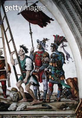 <b>Title</b> : Martyrdom of St. Philip, south wall of Strozzi Chapel, c.1497-1502 (fresco) (detail of 208288)<br><b>Medium</b> : fresco<br><b>Location</b> : Santa Maria Novella, Florence, Italy<br> - gettyimageskorea