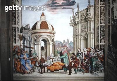 <b>Title</b> : North wall of Strozzi Chapel, The raising of Drusiana by St. John the Evangelist, c.1457-1502 (fresco)<br><b>Medium</b> : fresco<br><b>Location</b> : Santa Maria Novella, Florence, Italy<br> - gettyimageskorea