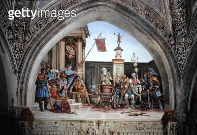 <b>Title</b> : North wall of Strozzi Chapel, The Martyrdom of St. John the Evangelist, c.1457-1502 (fresco)<br><b>Medium</b> : <br><b>Location</b> : Santa Maria Novella, Florence, Italy<br> - gettyimageskorea