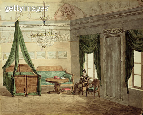 <b>Title</b> : Neo-Classical Bedchamber, 1819 (w/c on paper)<br><b>Medium</b> : watercolour on paper<br><b>Location</b> : Private Collection<br> - gettyimageskorea