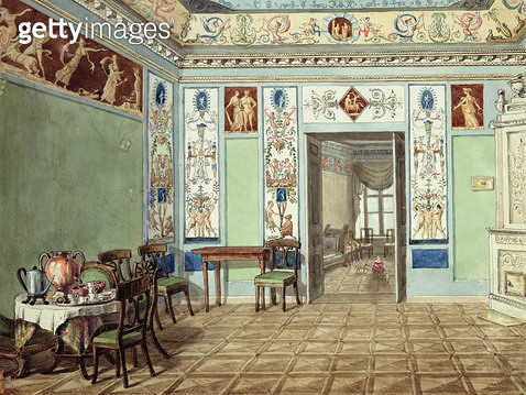 <b>Title</b> : Neo-Classical Etruscan Breakfast Room, 1820 (w/c on paper)<br><b>Medium</b> : watercolour on paper<br><b>Location</b> : Private Collection<br> - gettyimageskorea