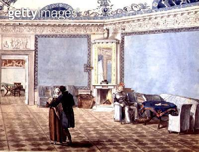 <b>Title</b> : Neo-Classical Blue Drawing Room in St. Petersburg, 1819 (w/c on paper)<br><b>Medium</b> : watercolour on paper<br><b>Location</b> : Private Collection<br> - gettyimageskorea