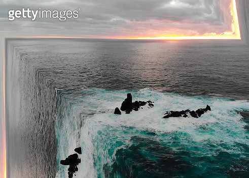 Surreal ocean view from aerial view bending the seascape creating stunning effect. - gettyimageskorea