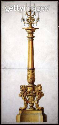 Design for a Neo-Classical Candelabra/ c.1820 (pen & ink with w/c on paper) - gettyimageskorea