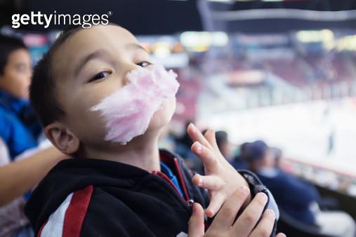 Cotton candy kid hockey game - gettyimageskorea
