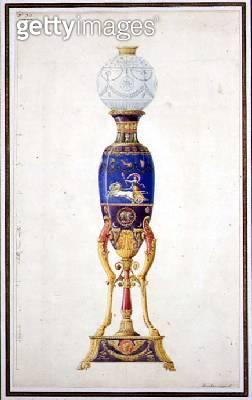 <b>Title</b> : Design for a Porcelain Lamp, 1815 (pen & ink and w/c on paper)<br><b>Medium</b> : pen and ink and watercolour on paper<br><b>Location</b> : Private Collection<br> - gettyimageskorea
