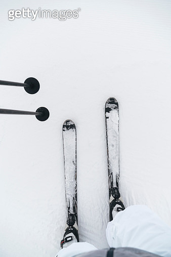 Point of view shot of man on skis in snow - gettyimageskorea