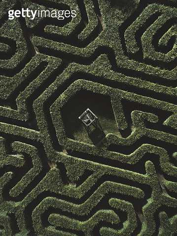 Drone shot of a maze, Netherlands - gettyimageskorea