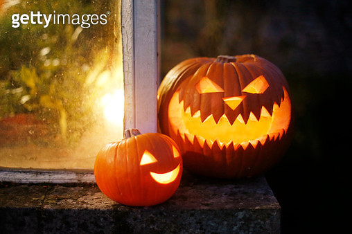Still life of Halloween pumpkins - gettyimageskorea