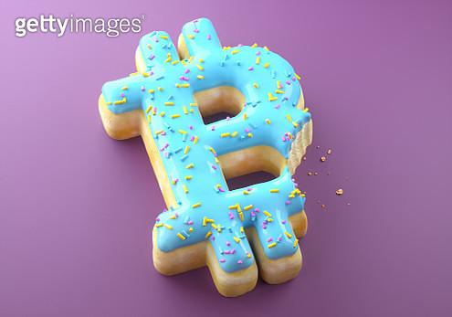 Bitcoin sign bitten donut - gettyimageskorea