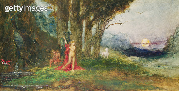 <b>Title</b> : Pasiphae and the Bull, c.1876-80 (w/c & gouache on paper)Additional Infowife of King Minos of Crete; developed an unnatural desi<br><b>Medium</b> : watercolour and gouache on paper<br><b>Location</b> : Musee Gustave Moreau, Paris, France<br - gettyimageskorea