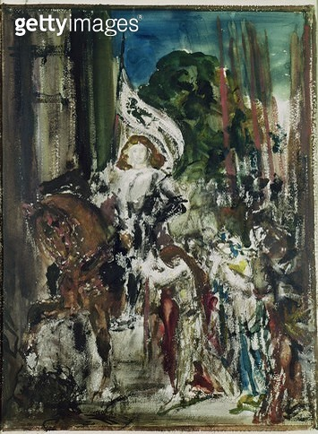 <b>Title</b> : Joan of Arc (w/c on paper)<br><b>Medium</b> : watercolour on paper<br><b>Location</b> : Musee Gustave Moreau, Paris, France<br> - gettyimageskorea