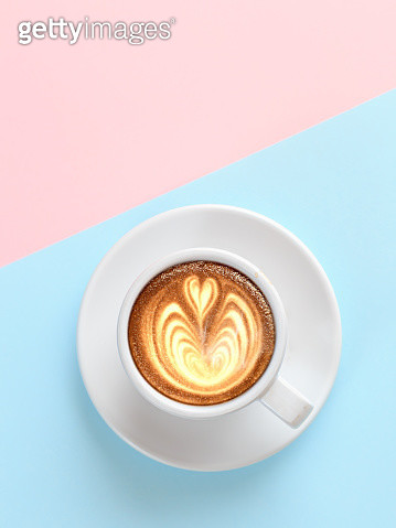 A cup of coffee with heart pattern - gettyimageskorea