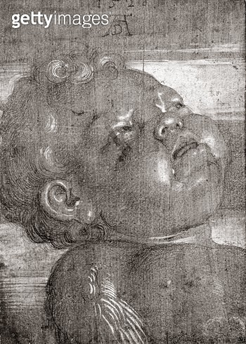 <b>Title</b> : Cherubim Crying, 1521 (graphite & gouache on paper)<br><b>Medium</b> : graphite and gouache on paper<br><b>Location</b> : Louvre, Paris, France<br> - gettyimageskorea