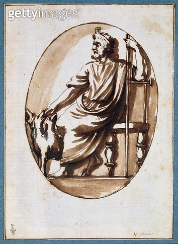 <b>Title</b> : Pluto and Cerberus (pen & ink on paper)Additional Infoformerly attributed to Nicolas Poussin;<br><b>Medium</b> : pen and ink on paper<br><b>Location</b> : Musee Conde, Chantilly, France<br> - gettyimageskorea