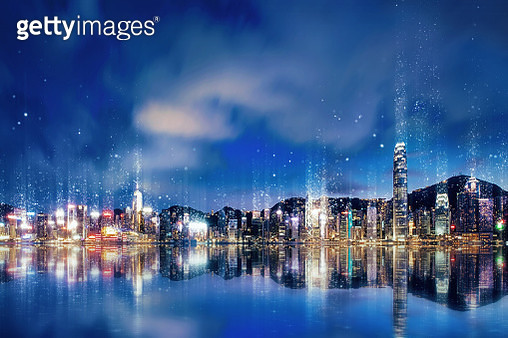 Night view of Hong Kong city skyline dissolved into light particles - gettyimageskorea