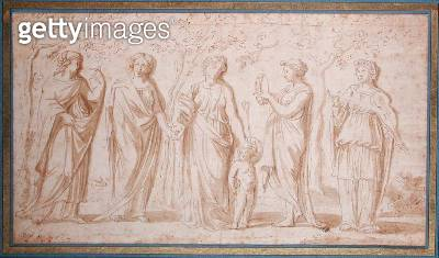 <b>Title</b> : Five Standing Muses (pen & ink on paper)<br><b>Medium</b> : pen and ink on paper<br><b>Location</b> : Musee Conde, Chantilly, France<br> - gettyimageskorea