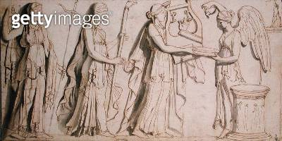 <b>Title</b> : Apollo, Diana, Juno and Victory (pen & ink on paper)Additional InfoApollon, Diane, Junon et la Victoire;<br><b>Medium</b> : pen and ink on paper<br><b>Location</b> : Musee Conde, Chantilly, France<br> - gettyimageskorea