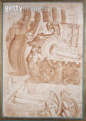 <b>Title</b> : Study of ancient ships, after reliefs on Trajan's Column (pen & ink on paper)<br><b>Medium</b> : pen and ink on paper<br><b>Location</b> : Musee Conde, Chantilly, France<br> - gettyimageskorea